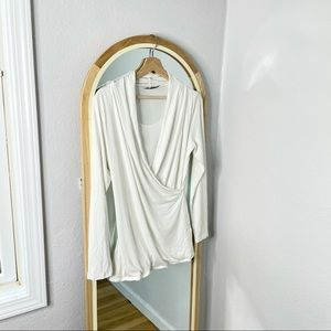 Angel Maternity white faux wrap top